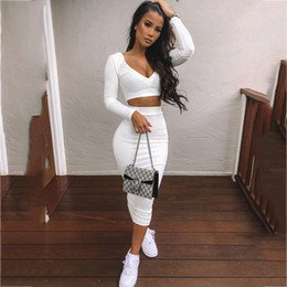 Wholesale outfits for parties online – ideas NewAsia Sexy Two Piece Set V neck Long Sleeve Crop Top Long Skirt Set Party Summer Clothes For Women Two Piece Outfits New DT191030