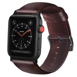 $enCountryForm.capitalKeyWord Australia - Folome Watchband Wax Oil Skin Belt Replacement Genuine Leather Band Strap Buckle For Apple Watch Series 1 2 3 4 38 42 40 44mm T190620