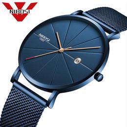 Binary Men Luxury Watches NZ - NIBOSI Men Blue Stainless Steel Ultra Thin Watches Men Classic Quartz Watches Luxury Date Men's Wrist Watch Relogio Masculino