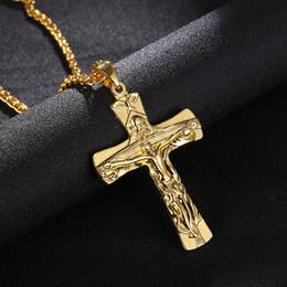 $enCountryForm.capitalKeyWord Australia - Religious Cross Jesus Pendant Necklace INRI Crucifix Gold Steel Gun black Color Men Chain Christian Jewelry Holiday Gifts