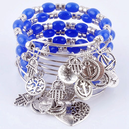 Charms Wire Wrapping Australia - bone 2018 Expandable adjustable wire wrap acrylic beads bangle bracelet hand life tree charm cuff bracelet for women Jewelry XY160317