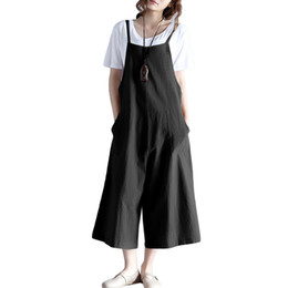 $enCountryForm.capitalKeyWord UK - Women Loose Suspender Trousers Solid Color Casual Overalls Jumpsuit Female Wide Leg Long Pants Pockets Playsuit Autumn Rompers Y19062201