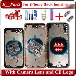 Vente en gros (Matériel original) !!! Pour iPhone 7 7P 8 8 Plus X Coque de protection arrière + Cadre de châssis moyen + Objectif pour appareil photo + Assemblage complet de carte SIM
