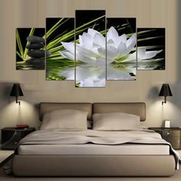 Moderne Home Wandkunst Dekoration Rahmenlose Modulare Bilder 5 Stücke Weiß Lotus Blume Wasser Kopfsteinpflaster HD Gedruckt Leinwand Gemälde im Angebot