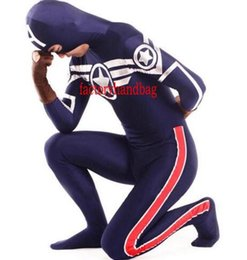Wholesale captain america full suit online – ideas Classic Spandex Lycra America Captain Zentai Halloween party Cosplay Costume Zentai Suit