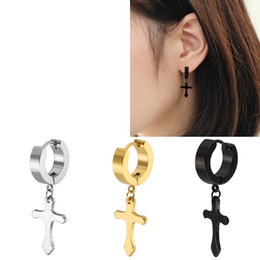 $enCountryForm.capitalKeyWord Australia - High Quality Cross Stainless Steel Stud Earrings For Women Men Gold Silver Balck Color Stainless Steel Earring Jewelry Accessories