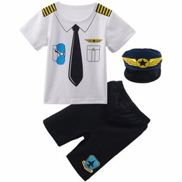 Polices clothes online shopping - Baby Boys Pilot Police Clothes Sets Infant Newborn Halloween Cosplay Costume for Boys Summer Short Sleeves Top Pants with HatMX190912