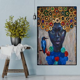 african modern abstract art paintings Australia - Oil painting portrait of abstract African women on canvas art Scandinavian posters and modern wall for living room