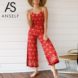 Womens Sleeveless Rompers Australia - 2019 Summer Rompers Womens Jumpsuit Sleeveless Dungarees Floral Print Open Back Straps Vintage Casual Playsuit Boho Overalls