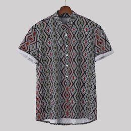 $enCountryForm.capitalKeyWord Australia - Casual Men's shirt Camisa Ethnic Printed Short sleeve Shirt Stand Collar Colorful Stripe Loose Male Blouse Tops Camisa masculina