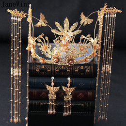 Discount ancient chinese headdress - JaneVini Traditional Chinese Gold Bridal Headpiece Costume Headdress Ancient Hairpins Long Tassel Women Wedding Jewelry