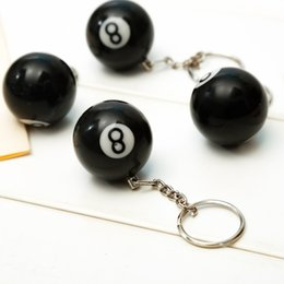 $enCountryForm.capitalKeyWord Australia - 16 piece lot Billiard Pool Key Chain Snooker Table Ball Shaped Key Ring Gift Lucky NO.8 Fashion Creative Trendy Black Key chain