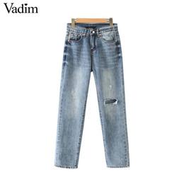 $enCountryForm.capitalKeyWord Australia - Vadim women stylish denim ankle length jeans holes pockets zipper fly design pants casual female chic trousers pantalone KA944
