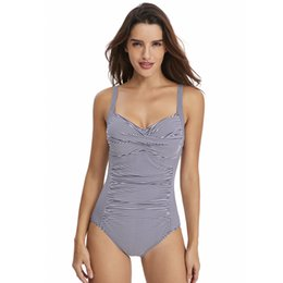 Wholesale dark swimwear for sale – plus size Female One Piece Halter Swimwear Fashion Print Beachwear Sexy Backless Tummy Control Fold Bathing Suit Dark Blue Stripe
