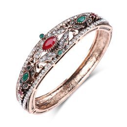 $enCountryForm.capitalKeyWord NZ - 2019 Vintage Jewelry Red Charm Bangle For Women Antique Gold Inlaid Crystal Bohemia Cuff Bracelets
