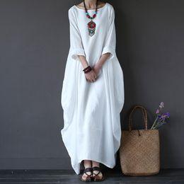 25b9ef09c8 Cotton Linen White Maxi Dress Women Spring Summer Loose Plus Size Big Hem  Boho Robe Long Dresses Three-quarter Sleeve Kaftan 5xl Y190415