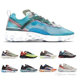 Leather seam online shopping - React Element Mens Running Shoes SE Taped Seams Royal Tint Anthracite Desert Sand Total Orange Green Mist Women Sports Sneakers