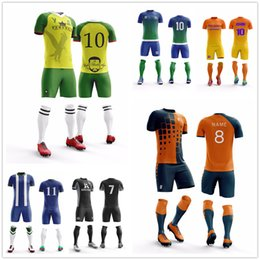 bcd7514d4e7 Professional Blank Custom Men kids Boy Soccer Jersey Custom Set Uniforms  Clothes Running Kit Breathable Football Shirt Tracksuit
