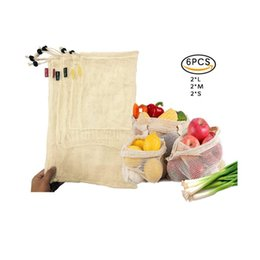 wholesale reusable drawstring bags UK - Reusable Cotton Vegetable Bags Home Kitchen Fruit And Vegetable Storage Mesh Bags With Drawstring Machine Washable