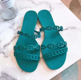 flat bottomed slipper Australia - Classic lady sandals Buckle Metal buckle leather Flat bottom Beach slippers Designer's Luxury Women's Sandals Large size 34