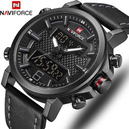 sport watch fashion led NZ - NAVIFORCE Top Luxury Brand Military Quartz Mens Watches LED Date Analog Digital Watch Men Fashion Sport Clock Relogio Masculino V191115
