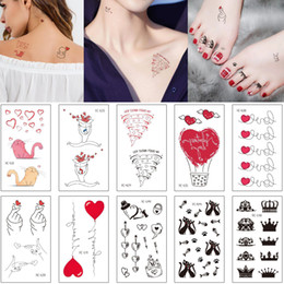 cute tattoos Canada - Lover Temporary Body Tattoo Cute Small Cat Heart Love Crown Design Arm Neck Chest Foot Back Makeup Instant Tattoo Sticker Valentine Day Gift