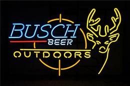 Best Bar Glasses Australia - 19X15 Inches Busch Beer Budweiser Bud Outdoors Real Glass Neon Sign Beer Bar Pub Light Handmade Artwork BEST GIFT Fast Shipping