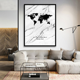 large canvas prints black white NZ - Nordic Wall Art Canvas Poster Painting, Black And White Marble World Map Posters Large Wall Art Picture For Living Room Home Decor