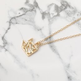 necklaces pendants Australia - 10pcs Gold Silver Rose Gold Origami Golden Fish Pendant Necklace Tropical Fish Characin Jewelry for Gift