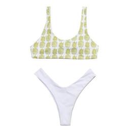 2889a7ab069f9 Women Girls Bikini Set Pineapple Print Padded Sexy Beach Suit Swimwear High  Cut Bathing Suit Brazilian Biquni Zwembroek Heren