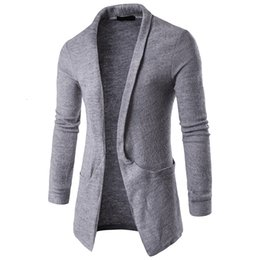$enCountryForm.capitalKeyWord Australia - WSGYJ Mens Plain Knitted Cardigan Men Long Sleeve Casual Slim Fit Sweater Jacket Coat Tops Black Grey T190907