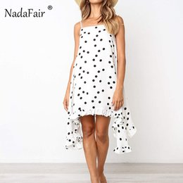 Boho Strap Australia - Nadafair Boho Print Dot Midi Dress Loose Spaghetti Strap Women Summer Beach Dress Casual 2019 Sleeveless Straight Chiffon