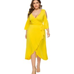 Wholesale Women Plus Size Wrap Dress V Neck Cold Shoulder Yellow Green Maxi Dresses XL XL XL