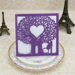 Figure Personalized Australia - Laser Cut Wedding Invitations OEM in 41 Colors Customized Hollow With Lovers Trees Hearts Personalized Wedding Invitation Cards #BW-I0306