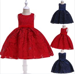 d396060a537 New Summer Lace Girls Communion Dresses Tutu Knee Length Sleeveless Simple  Dress for Kids Birthday Party Gift Dark Blue Red