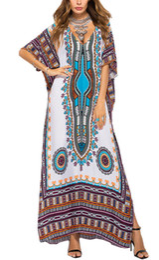 Cotton Ponchoes Australia - Women Full Length Kaftan Loose Summer Ethnic Print V-Neck Cotton Long Maxi Dress Beachwear Beach Poncho Night Wear