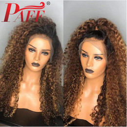 ombre full lace wigs Australia - PAFF Ombre Kinky Curly Full Lace Wigs Two Tone Brazilian Remy Hair Human Hair 4inch Wig With Baby Hair