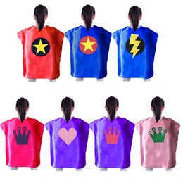 prince cartoons NZ - 70*50cm single layer Children the Princess Prince Cape kids Cartoon Cosplay Cape for Christmas Halloween Party Cosplay Stage Performance