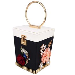 box handbags NZ - Designer- Black Box Bird Designer Women Evening Bags Ladies Flower Clutch Handbags Female Mini Tote Crystal Clutches Purses 6808SY
