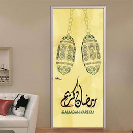 Art People Australia - 2Pcs Set Ramadan Kareem Door Wall Sticker Adesivo De Parede DIY Wall Decals Abstract Art Muslim Wallpaper Decoration Cool Home Decor