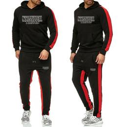$enCountryForm.capitalKeyWord NZ - New 2019 Men Tracksuits Outwear Hoodies Sportwear Sets Male Sweatshirts Strangers printing Men Set Clothing+Pants plus size