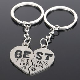 Wholesale 2pcs set Love Heart BEST FRIENDS Pendant Keychain Key Chain Keyring Gift for friends