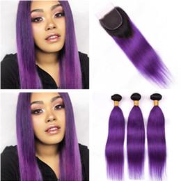 $enCountryForm.capitalKeyWord Australia - #1B Purple Ombre Hair Bundles with Closure Ombre Purple Straight Brazilian Human Hair 3Bundles with Closure Ombre 4x4 Lace Closure Piece