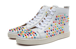 $enCountryForm.capitalKeyWord Canada - Original Box Red Sneakers For Men Women Red Spike Shoes Fashion Luxury Designer Shoes High Top Leather Wedding Party Shoes 6GA