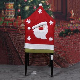 red blue chair Australia - Chair Cover Dinner Dining Table Santa Claus Snowman Red Cap Ornament Chair Back Covers Christmas Decor Table New Year Supplies