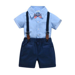 baby bib bow UK - 2019 spring and summer baby baby dress cotton bib suit suit gentleman clothing manufacturer cotton shorts shirt