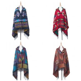 Wholesale geometric shawl cape resale online - Autumn And Winter Women Hooded Cloak Geometric Printing Shawl Acrylic Fiber Cape Blankets With Ox Horn Buckle National Style jha E1