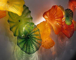 custom knobs 2019 - Free Shipping Multi Colored Chihuly Style Blown Glass Wall Plates Custom Made Holiday Party Wall Lights cheap custom kno