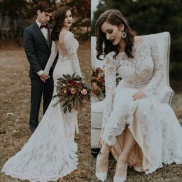 $enCountryForm.capitalKeyWord NZ - Robe De Mariage Wedding Dresses Boho 2019 Long Sleeves Lace Country Bohemian Long Sleeves Elegant Wedding Dress Bridal Gowns