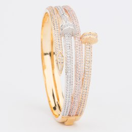 $enCountryForm.capitalKeyWord Australia - Luxury Design Bling Cubic Zircon Rose Gold Silver Nail Bracelets Rings Spike Bangles Jewelry Gifts for Men Women